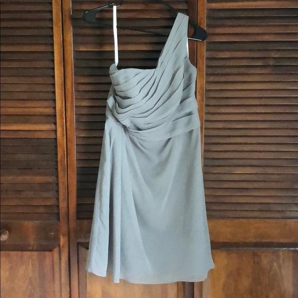 David's Bridal Dresses & Skirts - David's Bridal one shoulder gray dress SZ 12